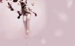 Картинка космонавт, голуби, полёт