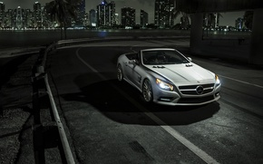 Обои mercedes, sl550, car, ночь, родстер, автообои
