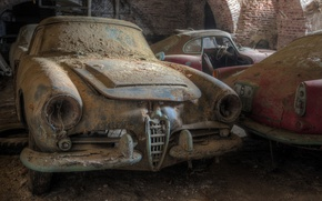 Картинка авто, старые, пыль, свалка