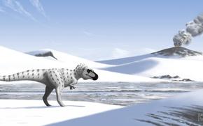 Картинка Вулкан, Животные, Arctic, Древние, Динозавры, tyrant