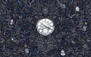 Картинка время, серый, фон, обои, часы, механизм, текстура, веревки, цифры