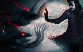 Картинка глаза, тьма, кровь, человек, прикосновение, демоны