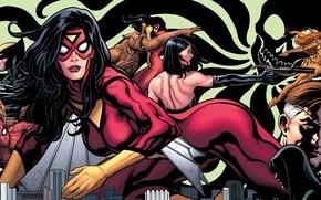 Картинка Wolverine, Marvel Comics, Spider-Man, Spider-Woman, Nick Fury, Tigra, Jessica Drew, Greer Grant
