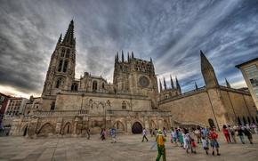 Картинка люди, башня, площадь, собор, Испания, Бургос