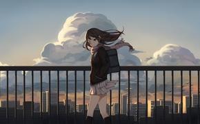 Картинка небо, девушка, облака, город, дома, аниме, арт, форма, школьница, idolmaster, levi9452, shibuya rin