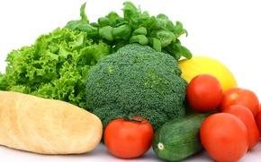 Картинка зелень, овощи, помидор, багет, салат, брокколи, кабачок, базилик