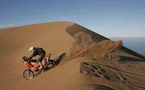 Картинка песок, пустыня, бархан, мотоцикл, гонщик, ралли, Дакар