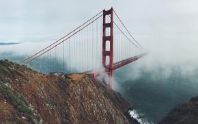 Картинка облака, горы, мост, туман, ворота, Пейзаж, Сан Франциско, золотые