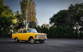Картинка машина, желтый, автомобиль, 412, Москвич, АЗЛК, мося