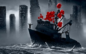 Картинка воздушные шары, корабль, лёд, романтика апокалипсиса, romantically apocalyptic, flying fortress