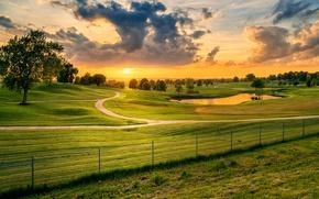 Картинка дорога, США, Миссури, Lees Summit, зелень, Лис-Саммит, поле, облака, деревья, Missouri, забор, луг, небо, трава, ...