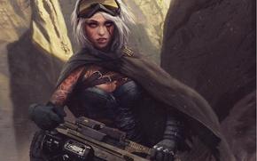 Картинка взгляд, девушка, оружие, фантастика, тату, арт