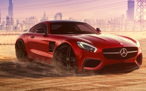 Картинка Mercedes-Benz, Red, Dubai, Front, AMG, Supercar, Liberty, 2015, Walk, GT S