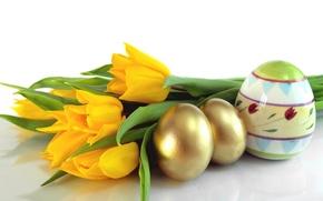 Картинка яйца, желтые, Пасха, тюльпаны