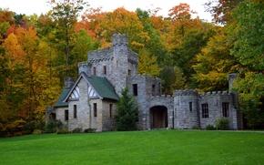 Картинка деревья, поляна, замок, Squires Castle, трава, осень, лес, США