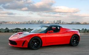 Картинка car, авто, city, город, обои, Roadster, sky, Tesla, Sport
