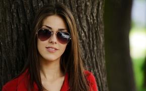 Картинка девушка, дерево, шатенка, тёмные очки