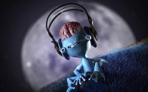 Обои Мозги, луна, музыка