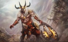 Картинка Игры, доспехи, руины, топор, dota 2, Дота, Bradwarden, Warchief, Centaur