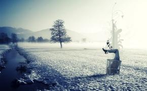 Обои стиль, чистота, мусор, лед, зима, река, снег, природа, туман, в снегу, половина, в сугробе, корзина, ...