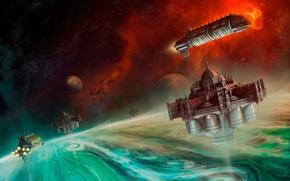 Картинка Warhammer 40000, космический корабль, Warhammer 40K, планетa, Shield of Baal, Щит Ваала