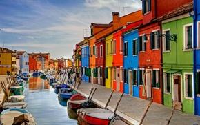 Картинка лодки, канал, краски, Италия, остров Бурано, Венеция, дома