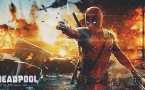 Обои Пистолет, Меч, Deadpool, Marvel, Дэдпул, Wade Wilson