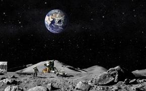 Обои земля, луна, флаг, американцы, Астронавты