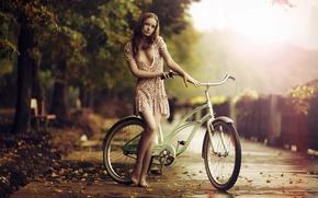 Картинка грусть, осень, девушка, велосипед, босиком