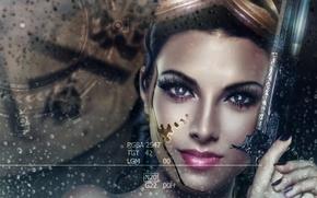 Картинка девушка, капли, лицо, оружие, дождь, робот, стим панк