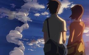 Картинка небо, закат, отношения, 5 сантиметров в секунду, Макото Синкай, 5 centimeters per second, toono takaki