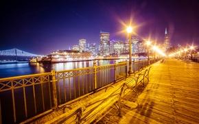 Картинка ночь, фонари, набережная, San Francisco