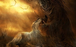 Обои собака, рисунок, монстр