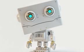 Картинка кто, robot, механизм, взгляд, него, арт, абстракция, изучает, того, смотрит, wallpaper., андроид, android, сканирующий, робот