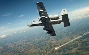 Картинка небо, облака, полет, земля, gun, пушка, штурмовик, sky, clouds, fly, A-10, over, jet, thunderbolt, Fairchild …