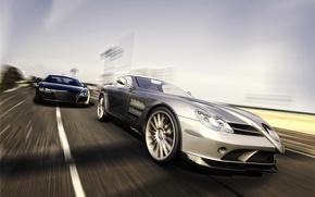 Обои рендеринг, Benz, Audi, SLR, Mercedes