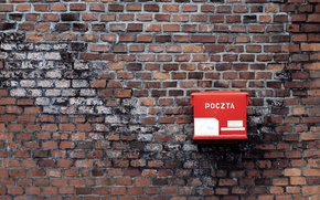 Картинка красный, стена, минимализм, почтовый ящик