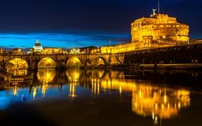 Картинка ночь, мост, огни, река, Рим, фонари, Италия, крепость