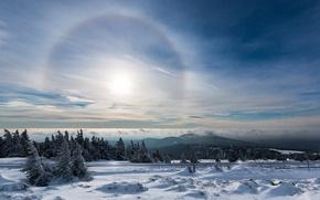 Картинка Гало, снег, сияние, зима, небо, нимб