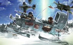 Картинка собаки, снег, девушки, арт, самолеты, танки, girls und panzer, военная кампания, r-ex