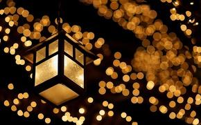 Картинка макро, гирлянда, стекло, свет, лампа, огни, боке, вечер, ночь, желтые, фонарь
