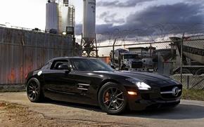 Картинка чёрный, тень, ограждение, black, вид спереди, Mercedes benz, sls amg, свет фар, Мерседес Бенц, слс …