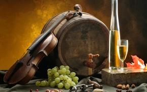 Обои лист, вино, белое, скрипка, бокал, виноград, орехи, бочка, штопор, скатерть
