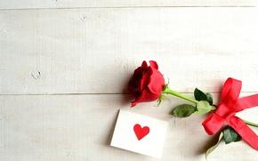 Картинка цветок, роза, лента, сердечко, бантик, открытка