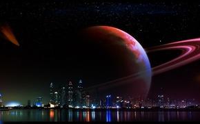 Картинка ночь, огни, Космос, art
