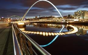Картинка город, огни, здания, дороги, мосты