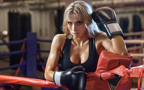 Картинка ring, boxing, blonde, Look, boxing gloves