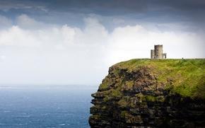 Картинка море, скала, башня, Ирландия, Ireland, Galway Bay, O'Brien's Tower