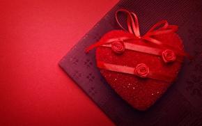 Картинка красный, фон, праздник, красное, сердце, ткань, сердечко, День святого Валентина, ленточки