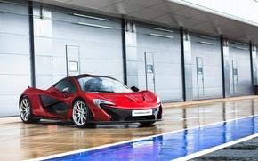 Картинка McLaren, Red, Rain, Supercar, Wheels, Pure